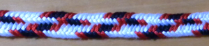 Flat 7-loop bicolor zig-zag fingerloop braid, loopbraider.com