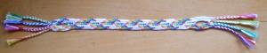 7-loop rainbow zig-zag pattern, fingerloop braid, Ingrid Crickmore, loopbraider.com