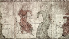 Oldest known image of fingerloop braiding, finger-held loop-manipulation braiding, circa 1320, Constance, Germany