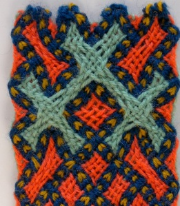 Andean / Paracas/ Nazca type flat braid made with hand-held loop braiding. 2-layer plain weave and countered twining. by Ingrid Crickmore / loopbraider.com