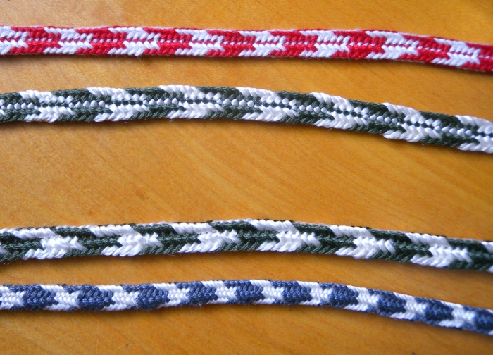 Bucks Horns braids compared to two double braids with a similar color pattern but not made with the unorthodox loop exchange.